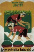 Vintage Vietnam Propaganda Poster, Rice Production